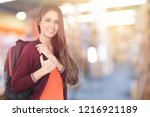 young smilling female college... | Shutterstock . vector #1216921189