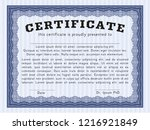 blue certificate. nice design.... | Shutterstock .eps vector #1216921849