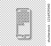 sellphone icon. white outline... | Shutterstock .eps vector #1216929340