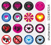 hearts love icons set