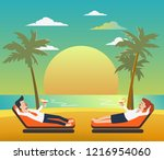 business man and business woman ... | Shutterstock .eps vector #1216954060