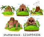 set mountain island on white... | Shutterstock .eps vector #1216954336