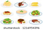 set of healthy dishes... | Shutterstock .eps vector #1216954396