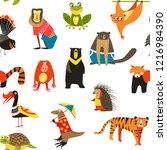 exotic animals variety seamless ... | Shutterstock .eps vector #1216984390