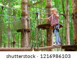 brave little child in safety... | Shutterstock . vector #1216986103