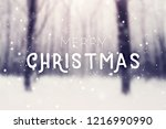 winter snow covered forest.... | Shutterstock . vector #1216990990