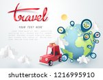 time to travel  paper art of... | Shutterstock .eps vector #1216995910