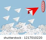flying origami. red paper plane ... | Shutterstock .eps vector #1217010220