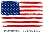 grunge american flag.dirty flag ... | Shutterstock .eps vector #1217021119