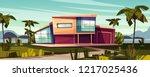 luxury villa on tropical beach... | Shutterstock .eps vector #1217025436