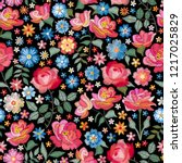 embroidery seamless pattern... | Shutterstock .eps vector #1217025829