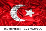 ottomans flag on silk texture... | Shutterstock . vector #1217029900