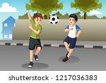 a vector illustration of kids...   Shutterstock .eps vector #1217036383