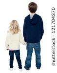 Rear View Of Two Little Kids...