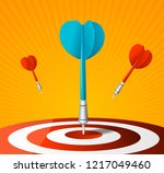 realistic detailed 3d dartboard ... | Shutterstock .eps vector #1217049460