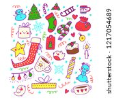 beautiful christmas objects in...   Shutterstock .eps vector #1217054689