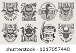 vintage monochrome diving logos ... | Shutterstock .eps vector #1217057440