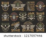 vintage colorful military... | Shutterstock .eps vector #1217057446
