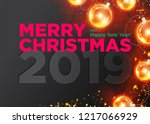 merry christmas vector dark... | Shutterstock .eps vector #1217066929