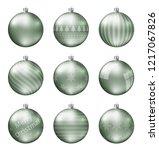pastel green christmas balls... | Shutterstock .eps vector #1217067826