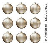 pastel gold christmas balls... | Shutterstock .eps vector #1217067829