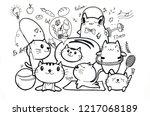 healthy and fitness doodles set ...   Shutterstock . vector #1217068189