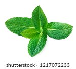 fresh mint leaves isolated on... | Shutterstock . vector #1217072233