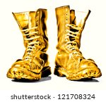 Golden  Combat Boots Isolated...