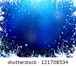 winter frame blue background, with stars and snowflakes illustration - stock photo