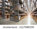 huge distribution warehouse...   Shutterstock . vector #1217088190