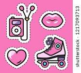 pink girl's roller skates ... | Shutterstock .eps vector #1217093713