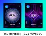 abstract sound poster with wave ... | Shutterstock .eps vector #1217095390