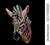 embroidery zebra for clothing.... | Shutterstock .eps vector #1217100310