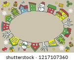 ellipse of houses and trees  ... | Shutterstock .eps vector #1217107360