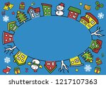 ellipse of houses and trees  ... | Shutterstock .eps vector #1217107363
