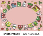 ellipse of houses and trees  ... | Shutterstock .eps vector #1217107366
