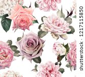 seamless floral pattern with... | Shutterstock . vector #1217115850