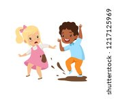 boy dirtying the girl with dirt ... | Shutterstock .eps vector #1217125969