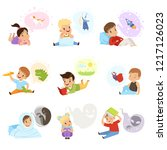 children reading books and... | Shutterstock .eps vector #1217126023