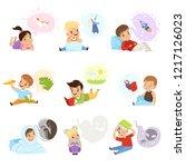 children reading books and... | Shutterstock .eps vector #1217126023
