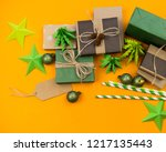 wrapped gift. skein of thread ... | Shutterstock . vector #1217135443