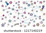 doodle constellation ursa major ... | Shutterstock .eps vector #1217140219