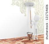 3d man painting a wall | Shutterstock . vector #121714606