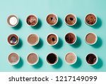 lots of coffee cups with... | Shutterstock . vector #1217149099
