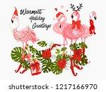 flamingo pink tropic merry...   Shutterstock .eps vector #1217166970