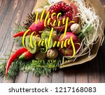 christmas fruit bouquet with... | Shutterstock . vector #1217168083