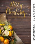 christmas background with fruit ... | Shutterstock . vector #1217169496