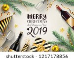 2019 new year card with... | Shutterstock .eps vector #1217178856