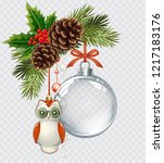 vector christmas fir tree with... | Shutterstock .eps vector #1217183176