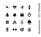health and fitness icon set | Shutterstock .eps vector #1217183260
